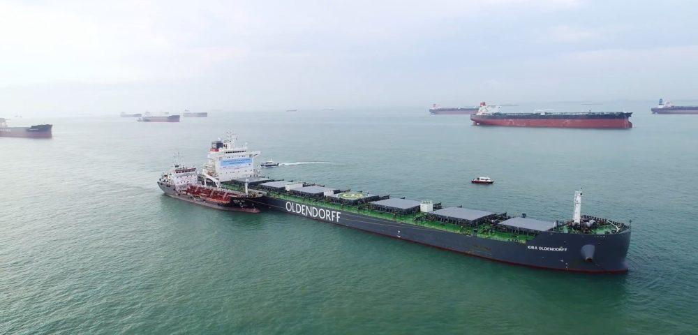 Se realizó la primera prueba de biocombustible para un buque oceánico en Singapur<br></noscript></noscript><img class=